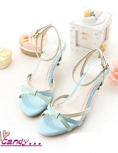 ShangYi Womens Shoes Heel Heels / Open Toe Sandals Outdoor / Office & Career / Casual Blue / Green / Pink/-1 Green
