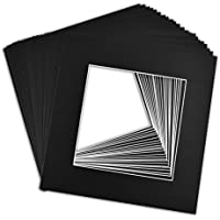 Golden State Art, Pack of 25, 12x12 Black Picture Mats Mattes with White Core Bevel Cut for 8x8 Photo
