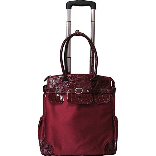 AmeriLeather Deluxe Skylar Women's Large Rolling Laptop Tote (Red)