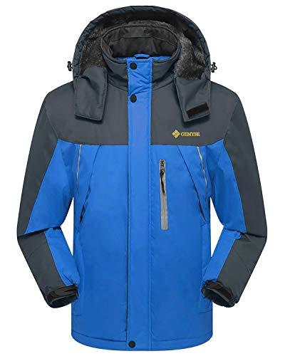 GEMYSE Men's Waterproof Mountain Jacket Fleece Windproof Ski Jacket(Blue,US L)