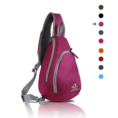 WATERFLY Chest Sling Shoulder Backpacks Bags Fashion Cute Crossbody Rope Triangle Rucksack for Hiking or Multipurpose Daypacks for Man Women Lady Girl Teens (Purple)