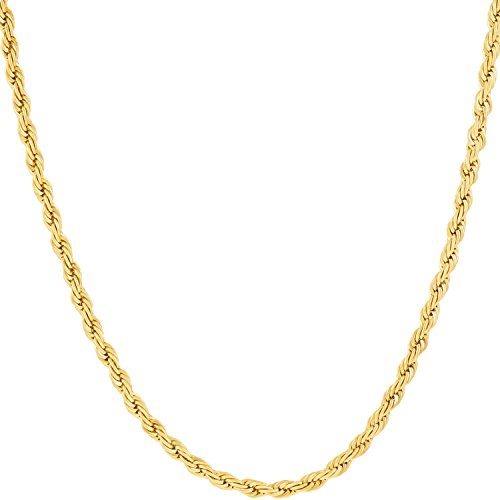 Lifetime Jewelry 2MM Rope Chain, 24K Gold with Inlaid Bronze, Pendant Necklace, Guaranteed for Life 22 Inches