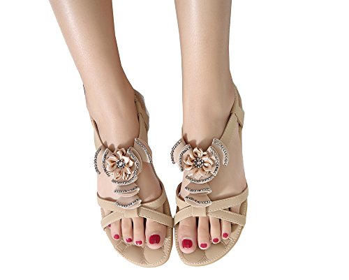 apricot Styles Sandals Flat Flowers Shoes Colorfulworld Bohemia Women's of vagxZw