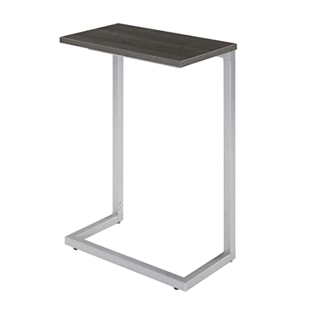 Sunon C-Shape Snack Side Table,17.3 x 9.8 x 26.5 Nesting End Table with Wood Laminate Top and Metal Frame Base Grey
