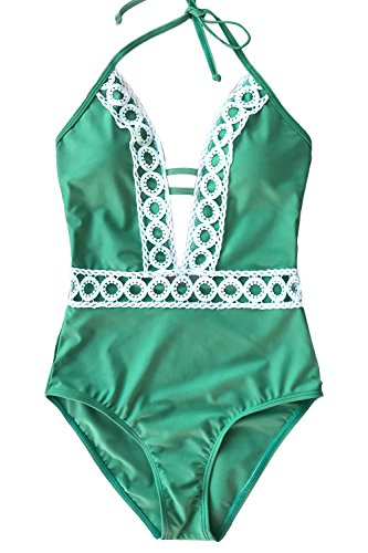 - CUPSHE Women's Thick Forest Deep V Neck Halter One-Piece Swimsuit, Green, Large