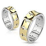 STR-0054 Stainless Steel Gold IP Die-Cut Cross Pattern Band Ring; Comes With Free Gift Box