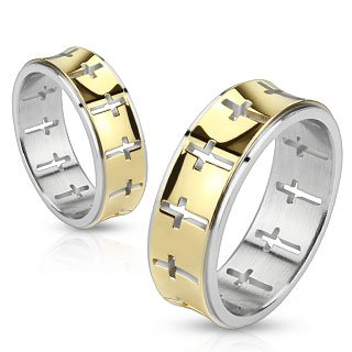 Jinique STR-0054 Stainless Steel Gold IP Die-Cut Cross Pattern Band Ring; Comes With Free Gift Box