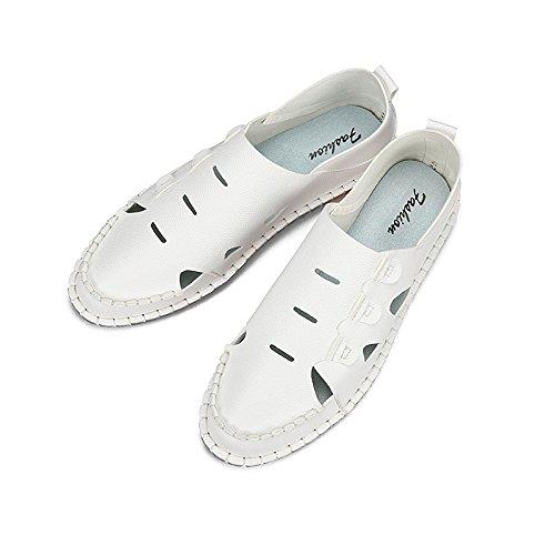I pattini delle scarpe della spiaggia dei pantaloni respirabili del pantalone degli uomini delle nuove fibre di estate di tempo libero dei sandali, bianco, UK = 6, EU = 39