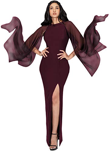 KOH KOH Plus Size Womens Long Flowy Chiffon Sleeve Cocktail Party Formal Elegant Evening High Slit Full Floor Length Bridesmaid Prom Gown Gowns Maxi Dress Dresses, Maroon Wine Red XL 14-16