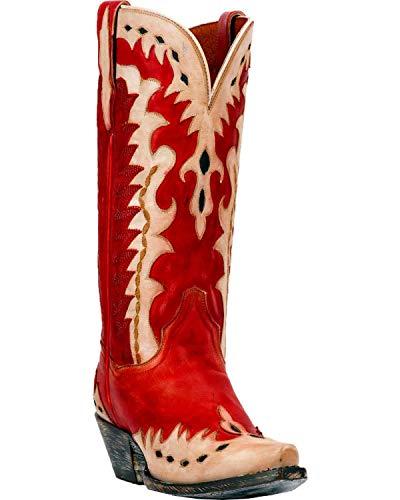 Dan Post Womens Red/Bone Cowboy Boots Leather Snip Toe 8 M