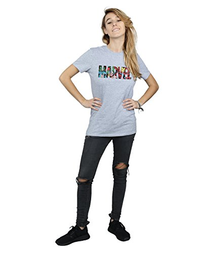 mujer Marvel Infill Logo Comics Gris para Camiseta Fit deportiva Little Personaje Friend SSAqUFw