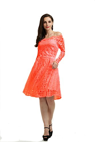 orange lace cocktail dress - 3