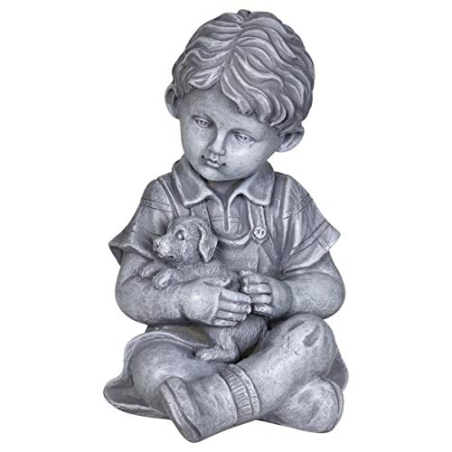 (Exhart Child & Puppy Garden Statue - Imitation Stone Statue of Little Boy & Dog - Child Art Resin Decor Best for Porch, Yard, Patio, and Garden, 10