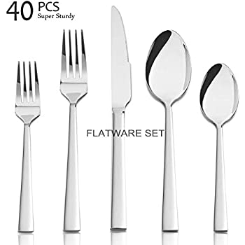 Idomy 40-Piece Stainless Steel Flatware Cutlery Service for 8