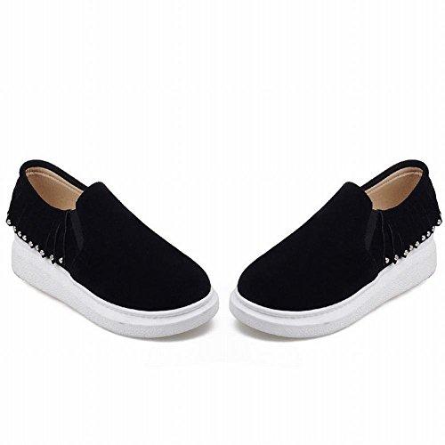 Show Shine Damesmode Kwastjes Loafers Flats Schoenen Zwart