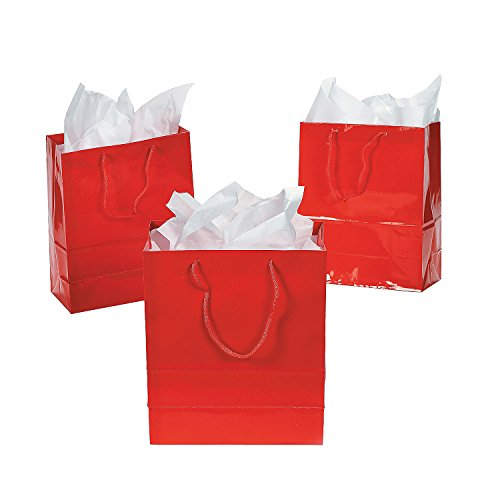 Fun Express - Medium Red Gift Bags for Party - Party Supplies - Bags - Paper Gift W & Handles - Party - 12 Pieces