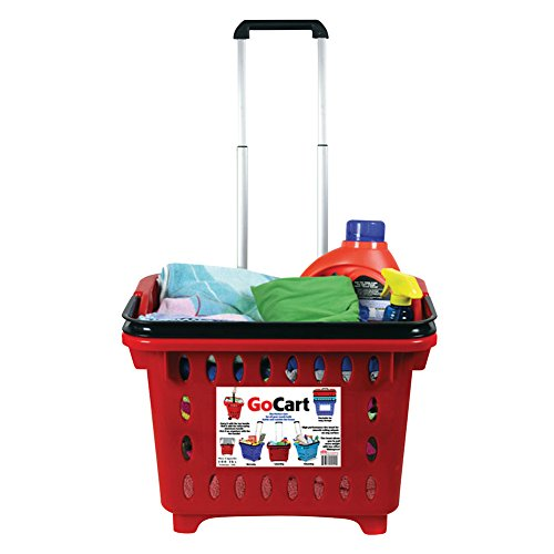 GoCart, Red Grocery Shopping Basket Rolling Laundry Cart