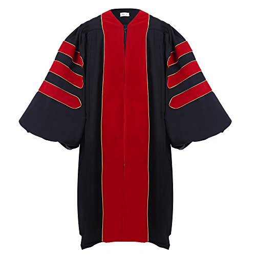 Newrara Doctoral Graduation Gown-Red Trim Gold Piping ( 45(5'0''-5'2'')) by Newrara