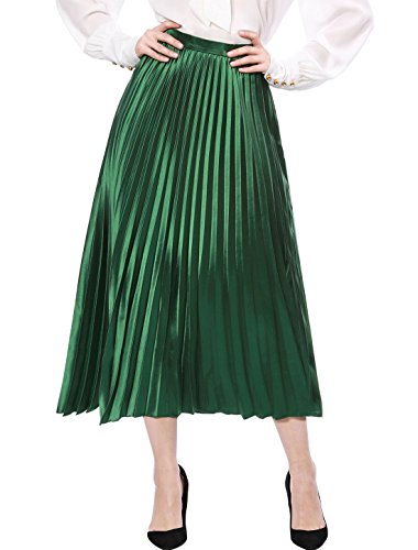 (Allegra K Women's Accordion Pleated Metallic Midi Skirt L Green )