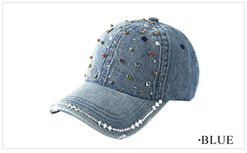 Fashion Denim Diamond Point Adjustable Fitted Hats Women Hip Hop Baseball Caps Kappen Gorras Summer - Fitted Hat Versace