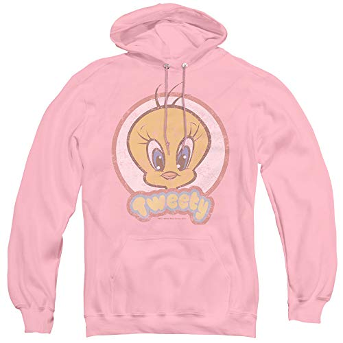 (Looney Tunes Retro Tweety Unisex Adult Pull-Over Hoodie for Men and Women, Medium Pink)
