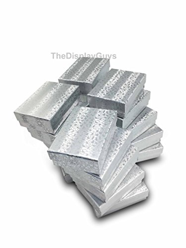 (The Display Guys Pack of 25 Cotton Filled Cardboard Paper Silver Jewelry Box Gift Case - Silver Foil (3 1/4x2 1/4x1 inches)
