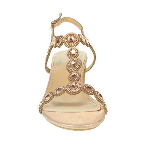Bloc Talon Soir Fête Mariée Mariage Femmes Chaussures Sandales à de Dames Cristal AARZ de Champagne Diamante Promo Bal LONDON Taille wZ0FnXa