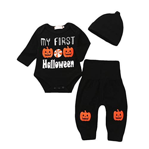 My First Halloween Newborn Infant Baby Girl Boy Party Costume Long Sleeve Pumpkin Romper + Pants + Hat Winter Clothes (Black,0-6 Months)