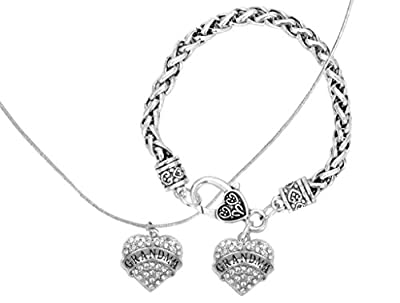 Mother's Day Gift for Grandma Engraved Gift Jewelry For Grandma Crystal Adorned Heart Shaped Pendant Necklace & Bracelet Jewelry Set Gift for Mom or Grandma