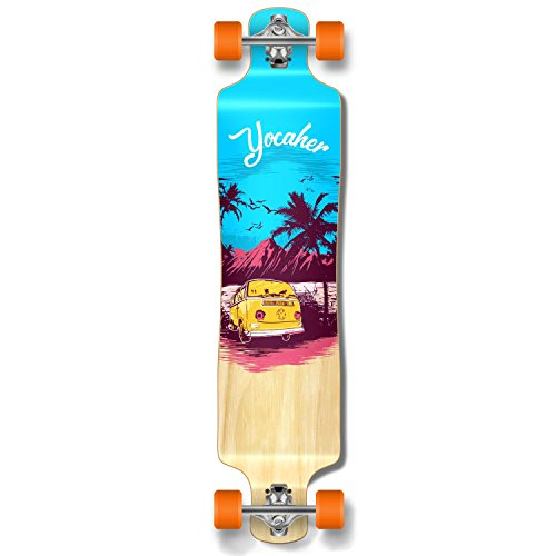 (Yocaher New VW Vibe Beach Series Longboard Complete Cruiser and Decks Available for All Shapes (Complete-Lowrider-Blue) )