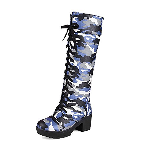 AgooLar Womens Lace-up Kitten-Heels PU Assorted Color High-Top Boots Blue fh36k