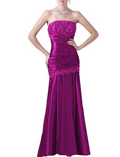 Fuchsia Taffeta Beading - Shadi Bridal Women's Strapless Beading Floor-Length Formal Prom Bridesmaids Celebrity Dresses Fuchsia US12
