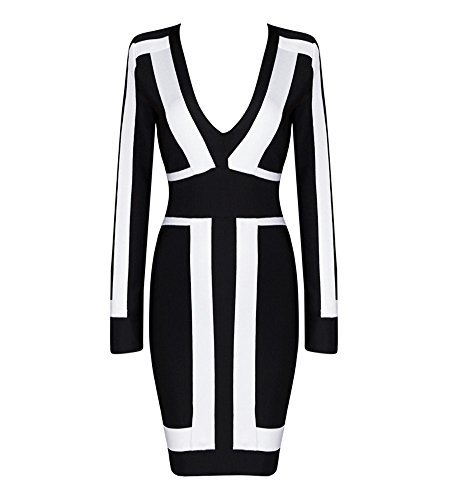 Hego Women's Long Sleeve Graphic Print Bodycon Bandage Black & White Party...