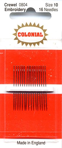 Colonial Needle 16 Count Embroidery/Crewel Needles, Size 10