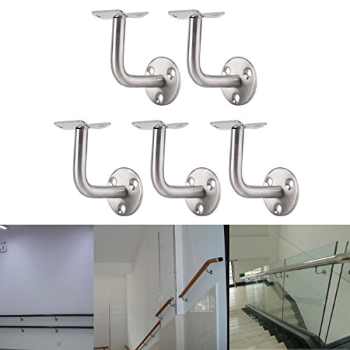 Pack Of 5 Stainless Steel Stair Bannister Hand Rail Rod Handrail Brackets Stair Handrails