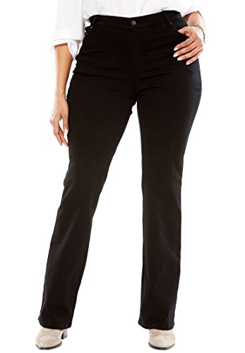 Woman Within Plus Size Petite Low-Rise Stretch Bootcut Jean - Black Denim, 12 WP