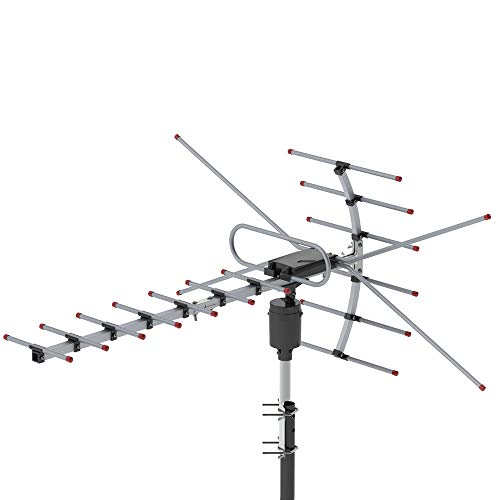 Goujxcy Antenna,TA-001 360°Rotation UV 45-230MHz/470-860MHz 15-22dB Outdoor Antenna,Black