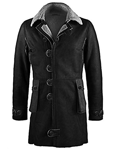 ST Men Genuine Leather Trench Coat Jacket Black Dark Knight Rise Bane Tom Hardy Slim Fit Big Tall Boys