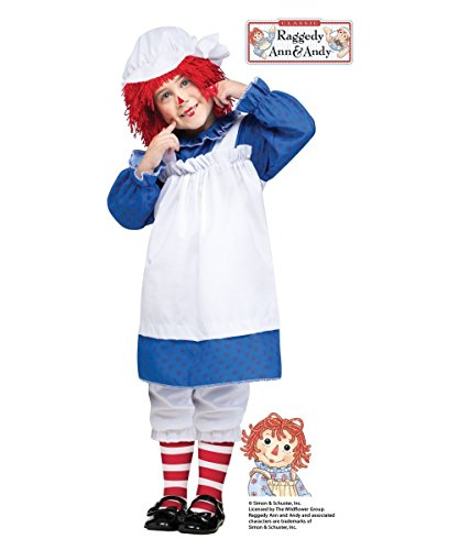 Raggedy Ann Halloween Costume Makeup (Raggedy Ann Toddler Toddler Costume - Toddler Large)