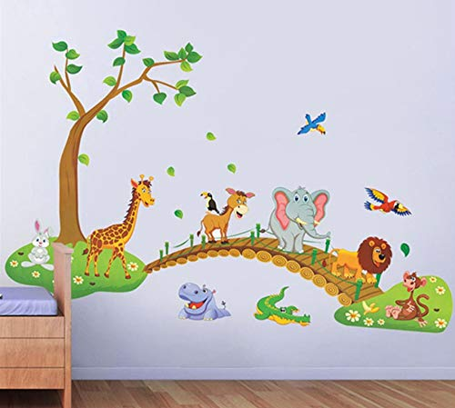 Pbldb Big Jungle Animals Bridge Vinyl Wall Stickers Kids Bedroom Wallpaper Decals Cute Anime Baby Children Cartoon Room Nursery Decor