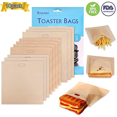 Non-Stick Reusable Toaster Bags - Samshow 3 Sizes Toaster Bags for Heat Resistant - FDA Approved, Perfect for Grilled Cheese Sandwiches, Chicken, Nuggets, Panini and Garlic Toasts - 10 Pack (Oven Grilled Chicken)