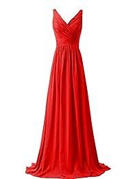 VaniaDress Women V Neck Chiffon Long Bridesmaid Dress Prom Evening Gowns V015LF