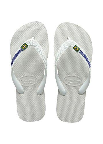 Havaianas Flip Flops Kids Brasil Logo White (White/Blue) Zxmnf