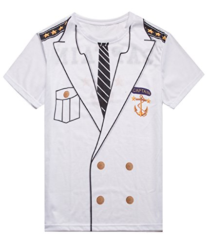 Sailor Outfit For Men (MRZONE Men's Captain Costume Halloween T-shirt (L, Captain Costume))