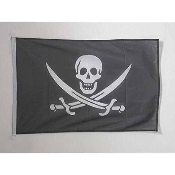 AZ FLAG Bandera Nautica Pirata Jack Rackham 45x30cm - Pabellón de conveniencia con Calavera - Piratas 30 x 45 cm Anillos: Amazon.es: Hogar