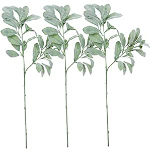 Sunm boutique 3 Pcs Artificial Lamb's Ear Leaf Artificial Greenery Flocked Lambs Ear Leaves in Silver Green for Christmas Festival Wedding Garden Centerpieces Bouquet Floral Arrangement 53