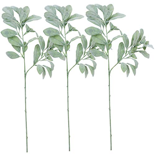 - Sunm boutique 3 Pcs Artificial Lamb's Ear Leaf Artificial Greenery Flocked Lambs Ear Leaves in Silver Green for Christmas Festival Wedding Garden Centerpieces Bouquet Floral Arrangement