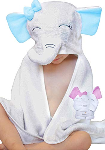 100% Organic Bamboo Hooded Baby Towel by BabeeHive - Extra Plush Super Absorbent Adorable Baby Elephant Design | Hypoallergenic & Antimicrobial | Cute Baby Bath Towel for Shower Gift (Blue)