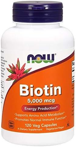 Biotin Skin Health Vitamin B7 5000 mcg 120 Veg Capsules