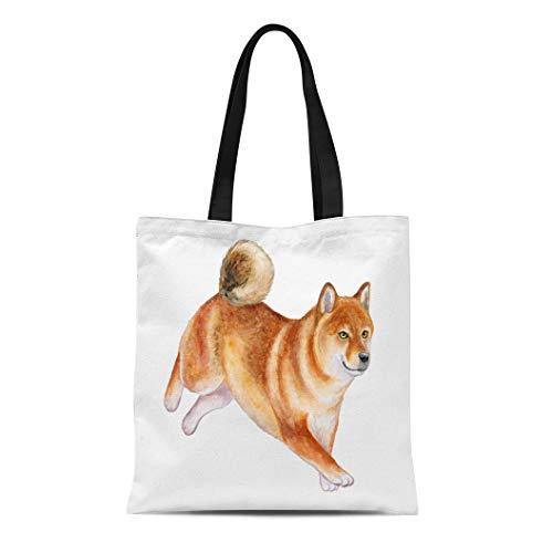 Semtomn Cotton Canvas Tote Bag Colorful Inu Dog Akita Running Puppy Watercolor Yellow Animal Reusable Shoulder Grocery Shopping Bags Handbag Printed ()